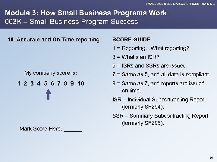 SMALL BUSINESS LIAISON OFFICER TRAINING Module 3: How Small Business Programs Work 003 K