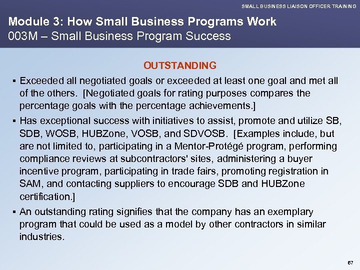 SMALL BUSINESS LIAISON OFFICER TRAINING Module 3: How Small Business Programs Work 003 M