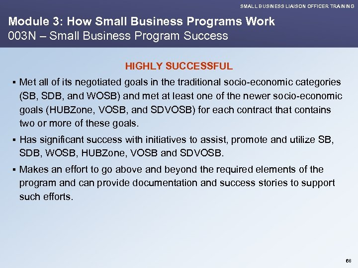 SMALL BUSINESS LIAISON OFFICER TRAINING Module 3: How Small Business Programs Work 003 N
