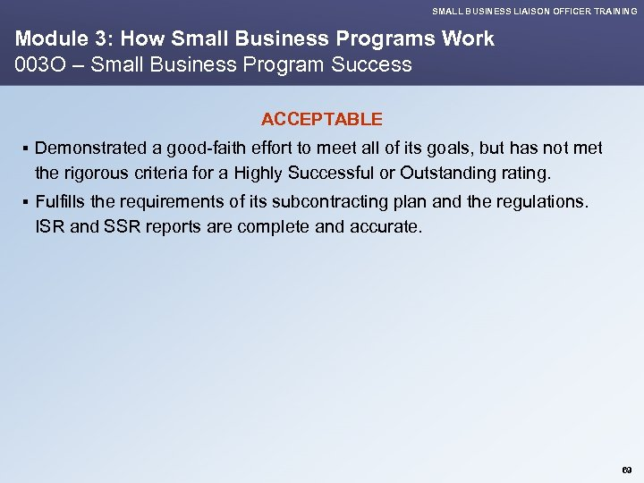 SMALL BUSINESS LIAISON OFFICER TRAINING Module 3: How Small Business Programs Work 003 O