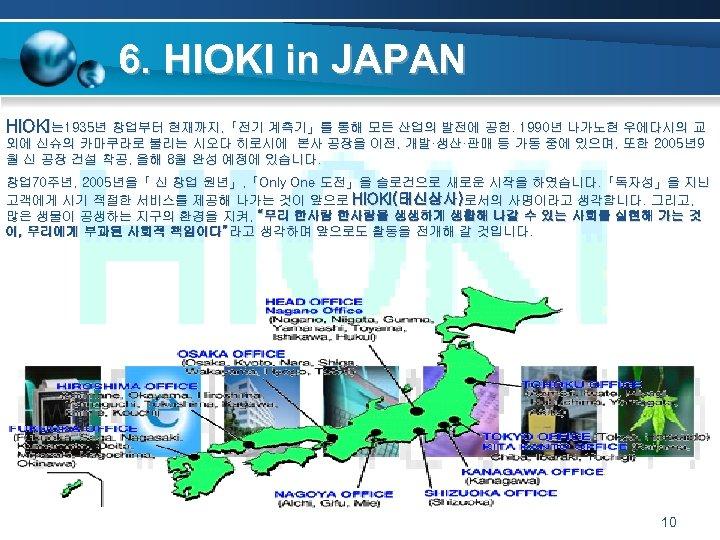 6. HIOKI in JAPAN HIOKI는 1935년 창업부터 현재까지, 「전기 계측기」를 통해 모든 산업의 발전에