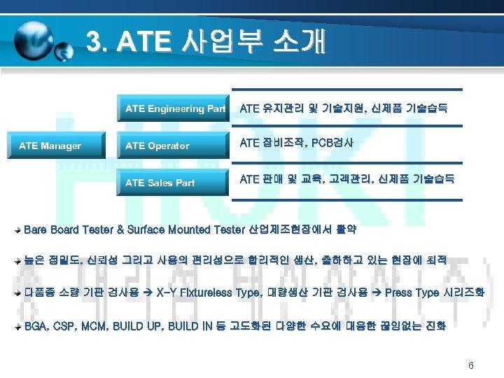 3. ATE 사업부 소개 ATE Engineering Part ATE Operator ATE 장비조작, PCB검사 ATE Sales