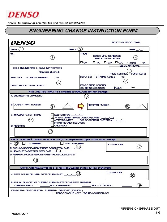 DENSO International America, Inc and related subsidiaries ENGINEERING CHANGE INSTRUCTION FORM POLICY NO. IPCD-01.