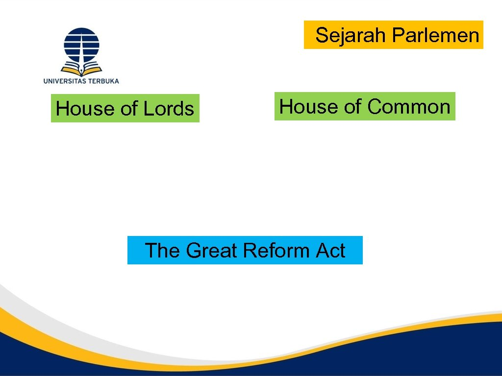 Sejarah Parlemen House of Lords House of Common The Great Reform Act
