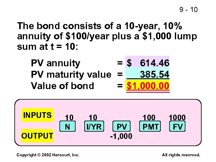 9 - 10 The bond consists of a 10 -year, 10% annuity of $100/year