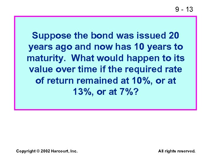 9 - 13 Suppose the bond was issued 20 years ago and now has
