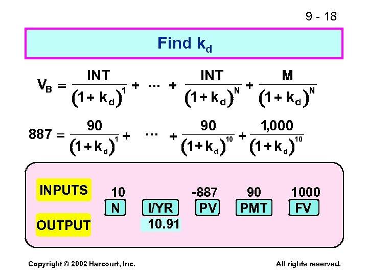 9 - 18 Find kd VB INT . . . + 1 + k