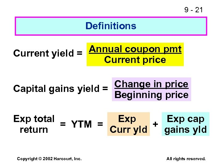 9 - 21 Definitions Annual coupon pmt Current yield = Current price Capital gains