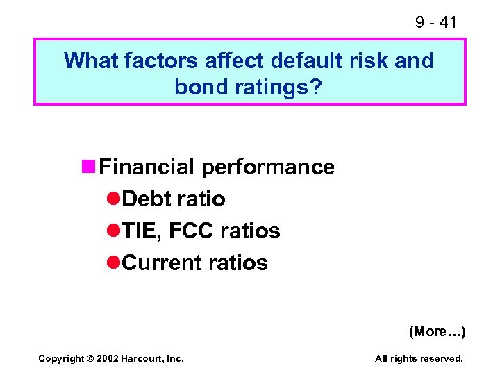 9 - 41 What factors affect default risk and bond ratings? n Financial performance