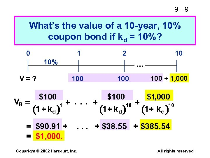 9 -9 What's the value of a 10 -year, 10% coupon bond if kd