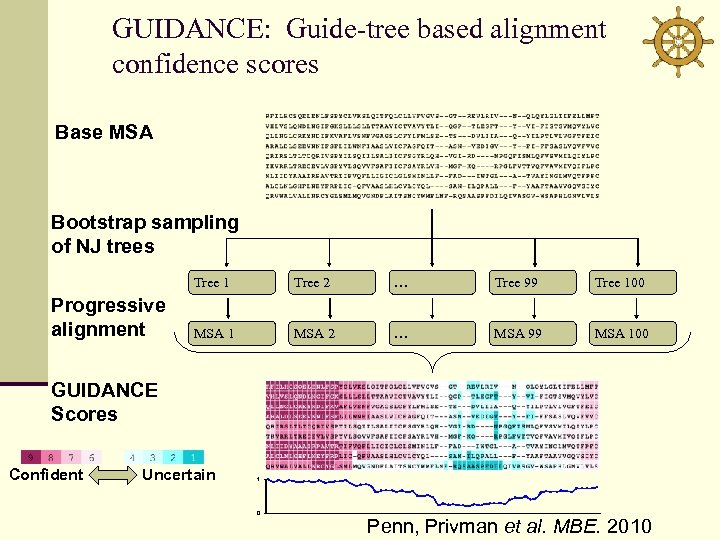 GUIDANCE: Guide-tree based alignment confidence scores Base MSA Bootstrap sampling of NJ trees Tree