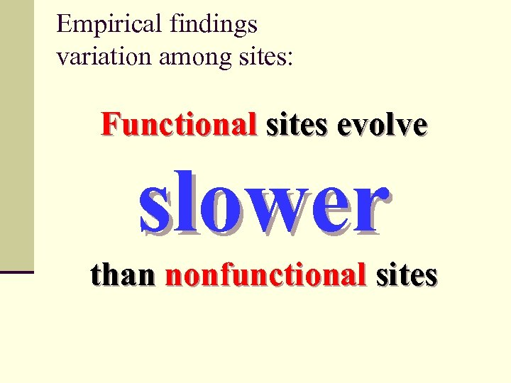 Empirical findings variation among sites: Functional sites evolve slower than nonfunctional sites