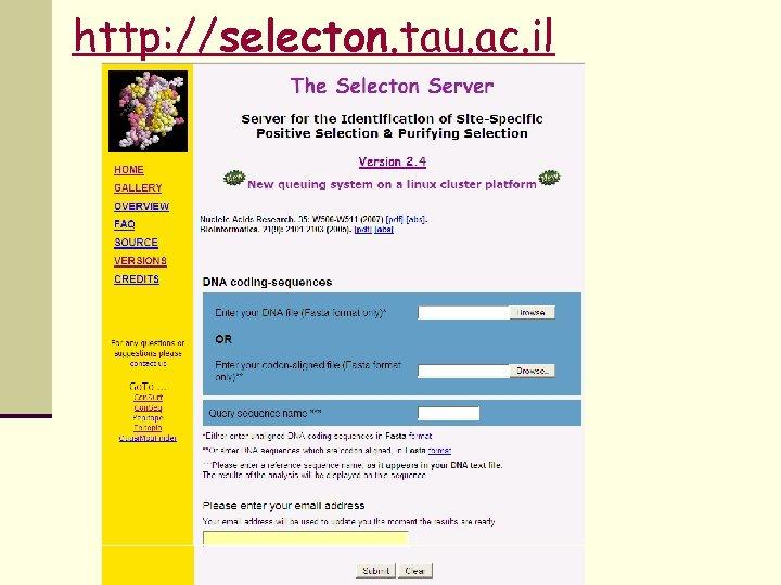 http: //selecton. tau. ac. il