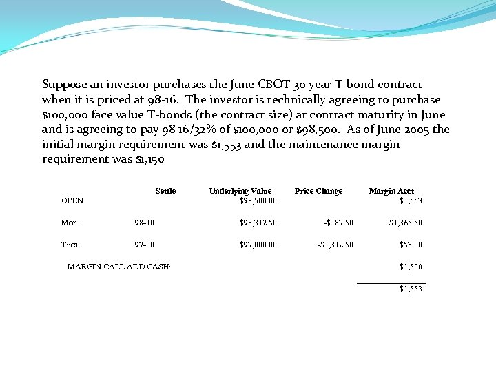 Suppose an investor purchases the June CBOT 30 year T-bond contract when it is