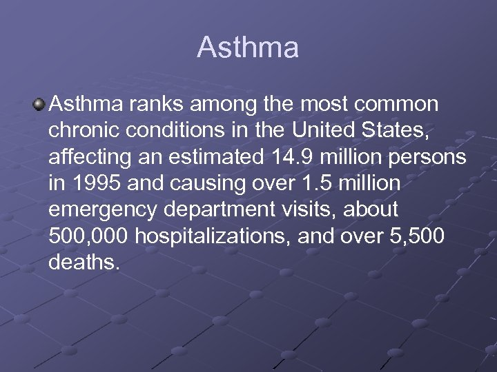 Asthma ranks among the most common chronic conditions in the United States, affecting an