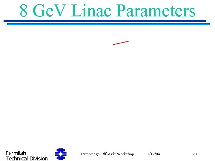 8 Ge. V Linac Parameters Fermilab Technical Division Cambridge Off-Axis Workshop 1/12/04 20