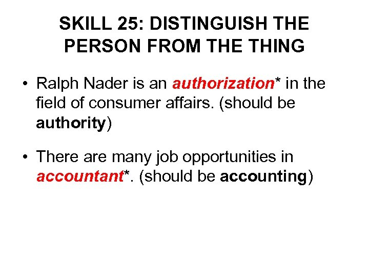 SKILL 25: DISTINGUISH THE PERSON FROM THE THING • Ralph Nader is an authorization*