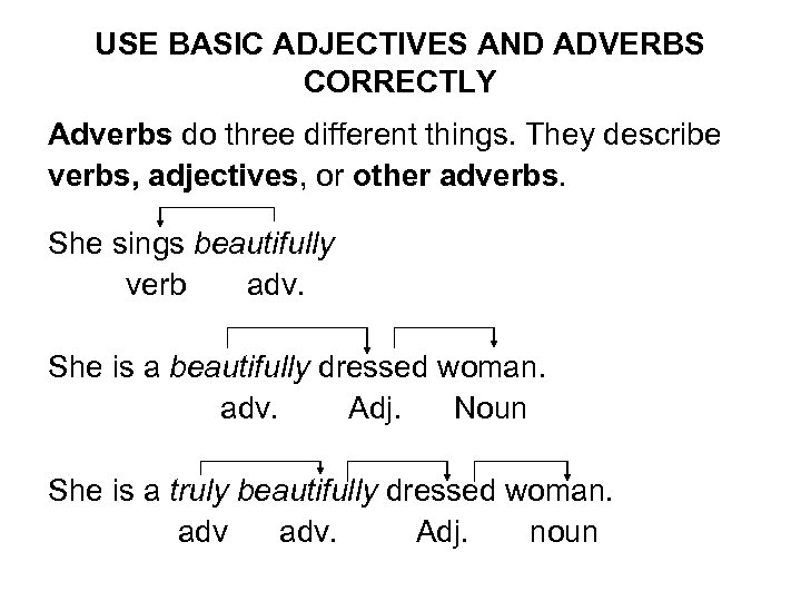 USE BASIC ADJECTIVES AND ADVERBS CORRECTLY Adverbs do three different things. They describe verbs,