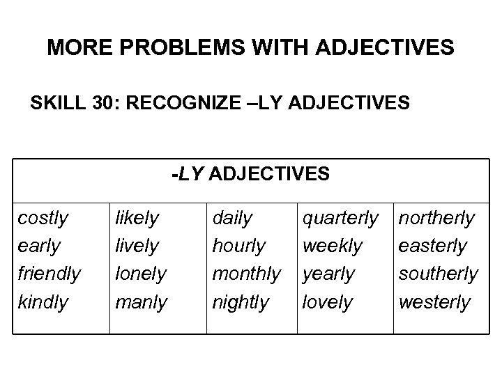 MORE PROBLEMS WITH ADJECTIVES SKILL 30: RECOGNIZE –LY ADJECTIVES -LY ADJECTIVES costly early friendly