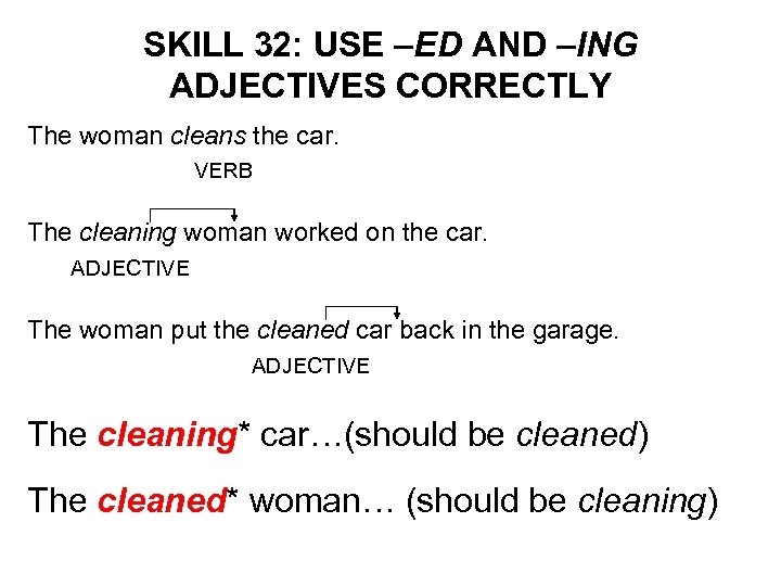 SKILL 32: USE –ED AND –ING ADJECTIVES CORRECTLY The woman cleans the car. VERB