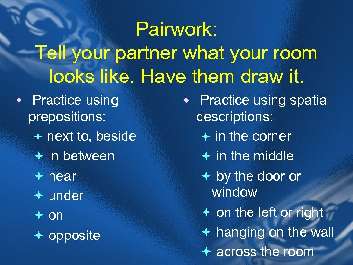 Pairwork: Tell your partner what your room looks like. Have them draw it. w