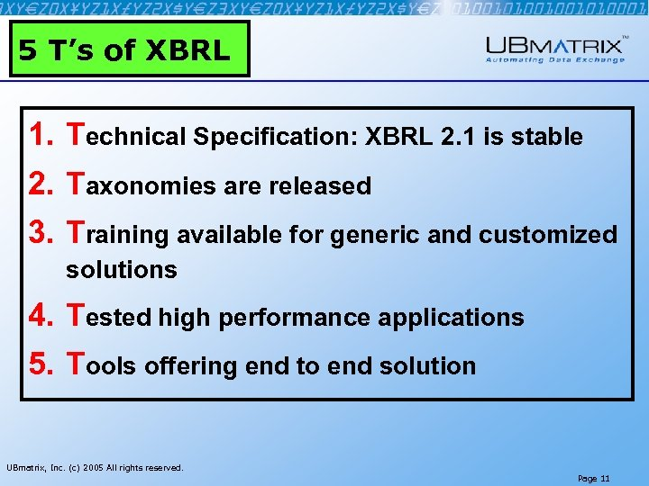 5 T's of XBRL 1. Technical Specification: XBRL 2. 1 is stable 2. Taxonomies