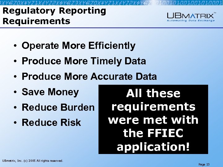Regulatory Reporting Requirements • Operate More Efficiently • Produce More Timely Data • Produce