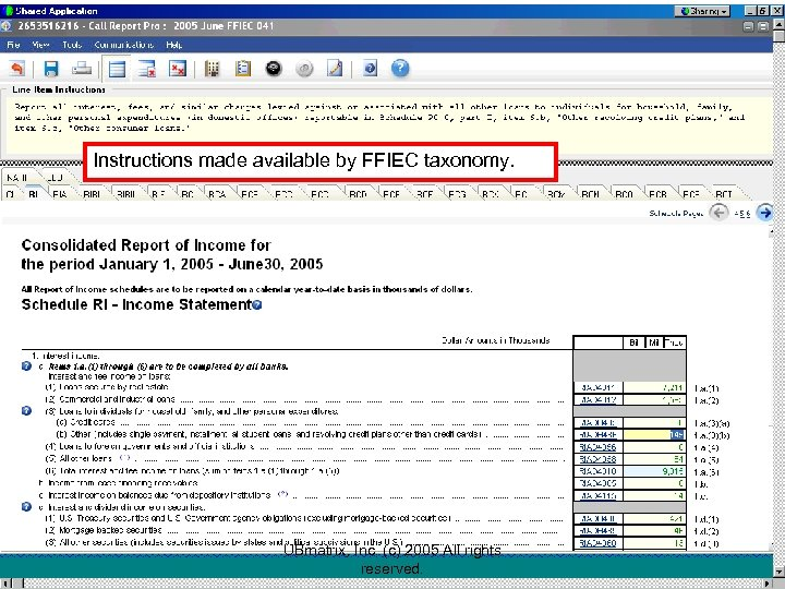 Instructions made available by FFIEC taxonomy. UBmatrix, Inc. (c) 2005 All rights reserved.