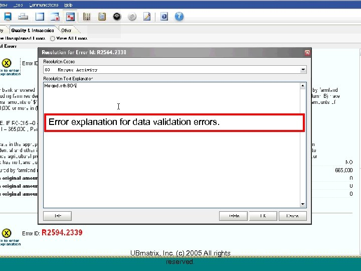 Error explanation for data validation errors. UBmatrix, Inc. (c) 2005 All rights reserved.