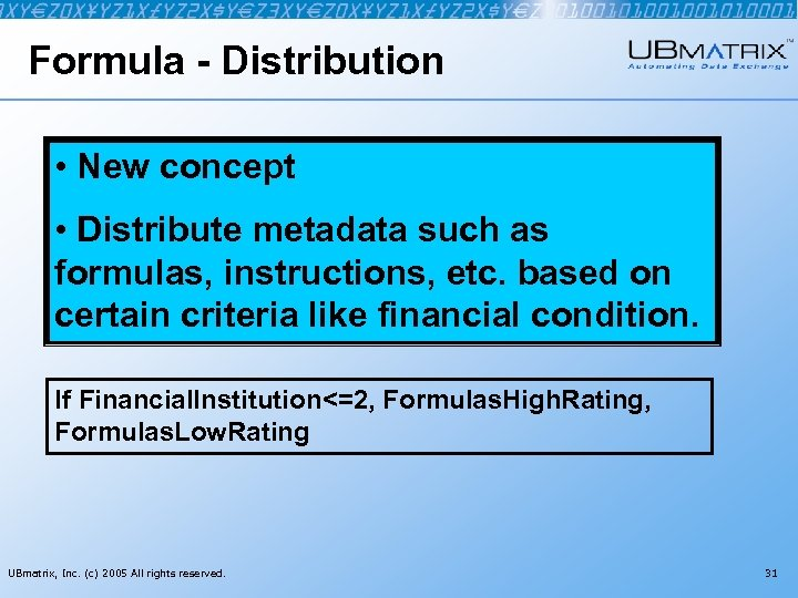 Formula - Distribution • New concept • Distribute metadata such as formulas, instructions, etc.