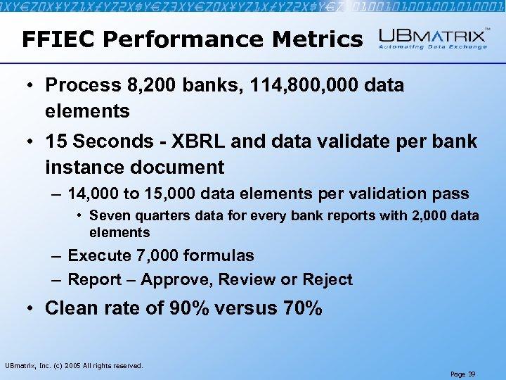 FFIEC Performance Metrics • Process 8, 200 banks, 114, 800, 000 data elements •