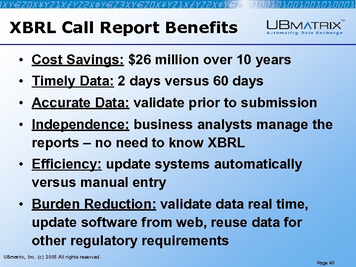 XBRL Call Report Benefits • Cost Savings: $26 million over 10 years • Timely