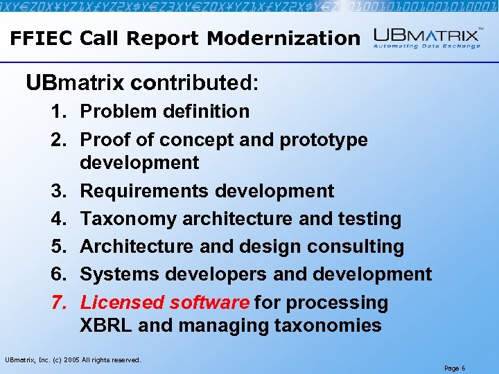 FFIEC Call Report Modernization UBmatrix contributed: 1. Problem definition 2. Proof of concept and