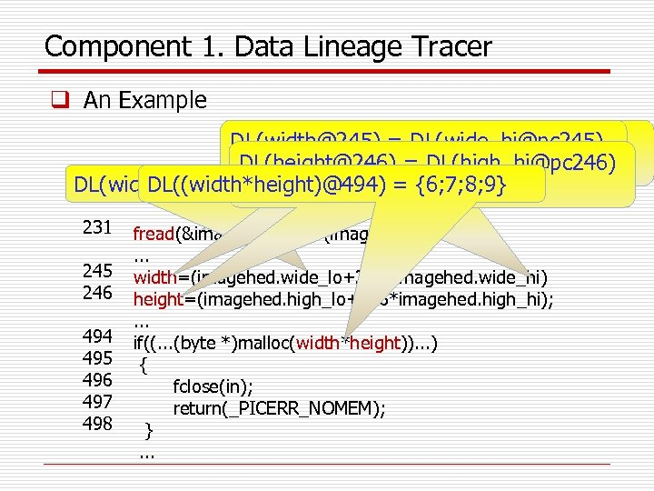 Component 1. Data Lineage Tracer q An Example DL(width@245) = DL(wide_hi@pc 245) READ (buf,