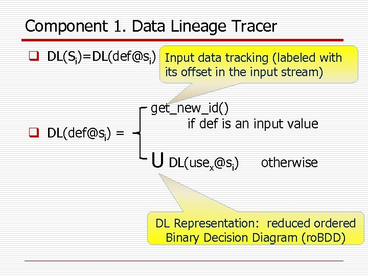 Component 1. Data Lineage Tracer q DL(Si)=DL(def@si) Input data tracking (labeled with its offset