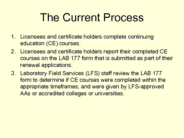 The Current Process 1. Licensees and certificate holders complete continuing education (CE) courses. 2.