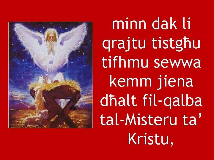 minn dak li qrajtu tistgħu tifhmu sewwa kemm jiena dħalt fil-qalba tal-Misteru ta' Kristu,