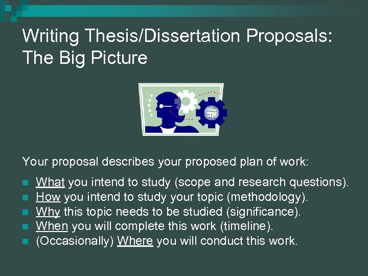 communicating research - research proposal and thesis writing A typical dissertation/research proposal consists of three chapters or parts: the introduction (chapter 1), the review of related literature and/or research (chapter 2), and the methodology (chapter 3.