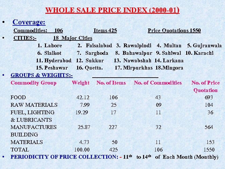 WHOLE SALE PRICE INDEX (2000 -01) • Coverage: • • • Commodities: 106 Items