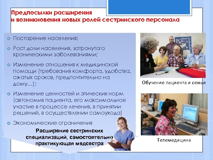 Предпосылки расширения и возникновения новых ролей сестринского персонала Постарение населения; Рост доли населения, затронутого