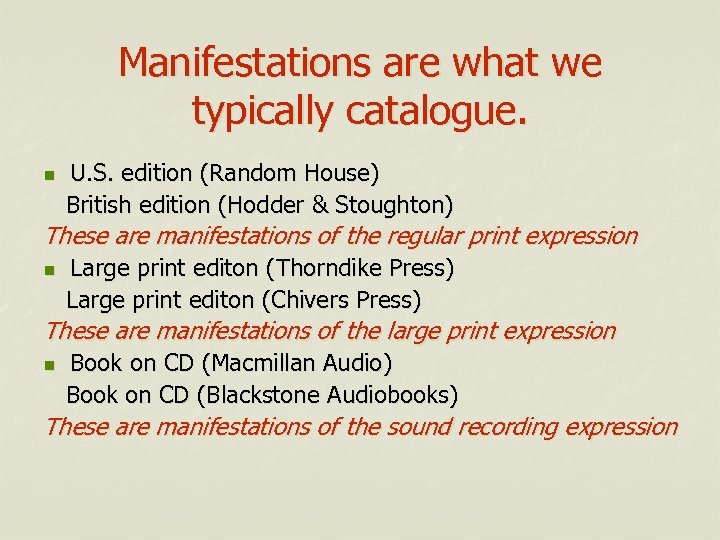 Manifestations are what we typically catalogue. n U. S. edition (Random House) British edition