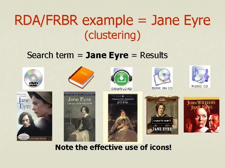 RDA/FRBR example = Jane Eyre (clustering) Search term = Jane Eyre = Results Note