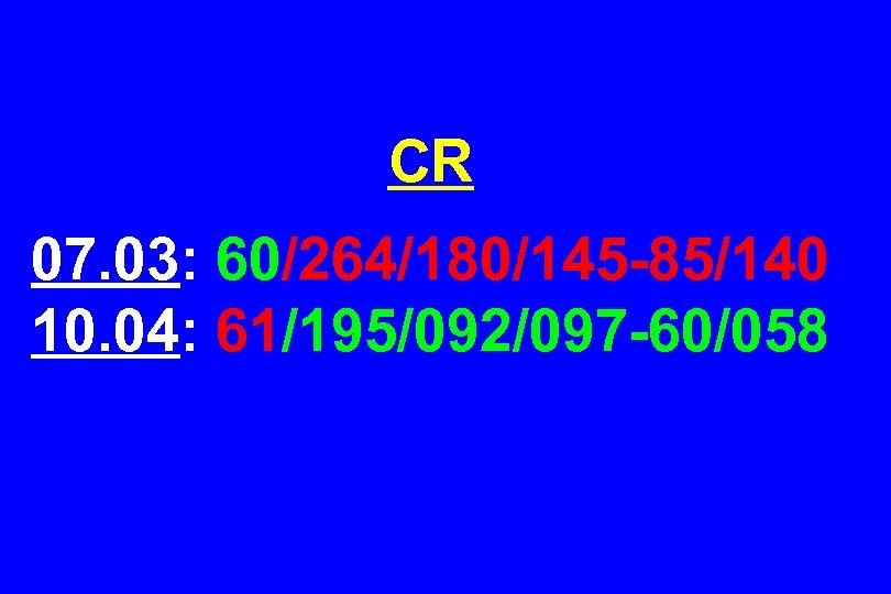 CR 07. 03: 60/264/180/145 -85/140 10. 04: 61/195/092/097 -60/058