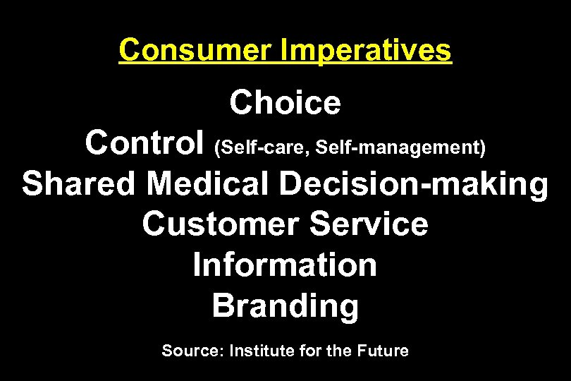 Consumer Imperatives Choice Control (Self-care, Self-management) Shared Medical Decision-making Customer Service Information Branding Source: