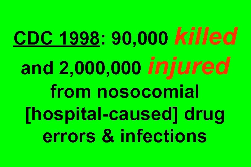 CDC 1998: 90, 000 killed and 2, 000 injured from nosocomial [hospital-caused] drug errors