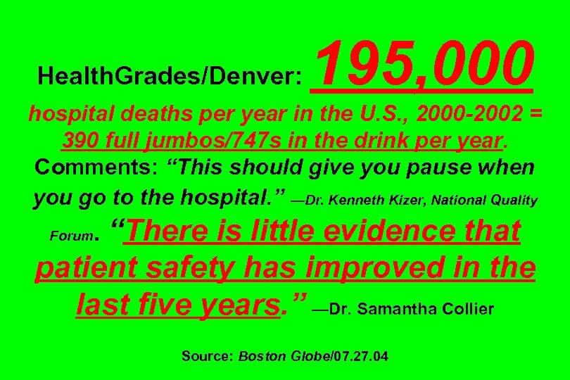 Health. Grades/Denver: 195, 000 hospital deaths per year in the U. S. , 2000