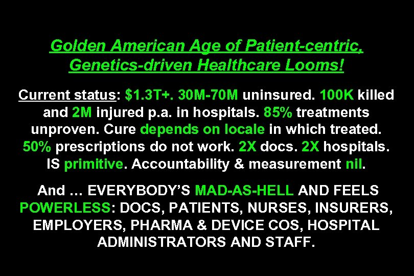 Golden American Age of Patient-centric, Genetics-driven Healthcare Looms! Current status: $1. 3 T+. 30