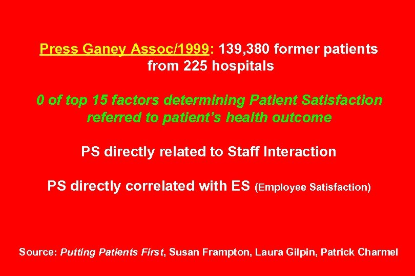 Press Ganey Assoc/1999: 139, 380 former patients from 225 hospitals 0 of top 15