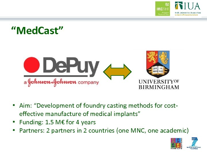 """""""Med. Cast"""" • Aim: """"Development of foundry casting methods for costeffective manufacture of medical"""