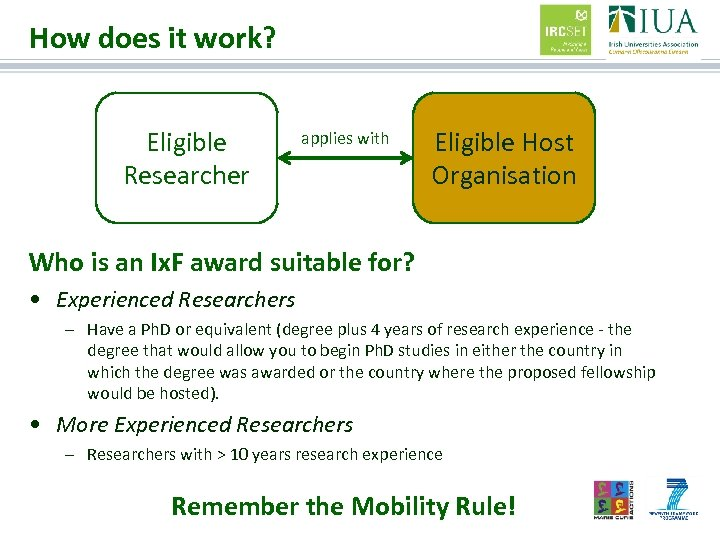 How does it work? Eligible Researcher applies with Eligible Host Organisation Who is an